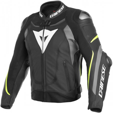 DAINESE Jacket Leather SUPER SPEED 3 PREFORATED BLACK-GRAY-YELLOW