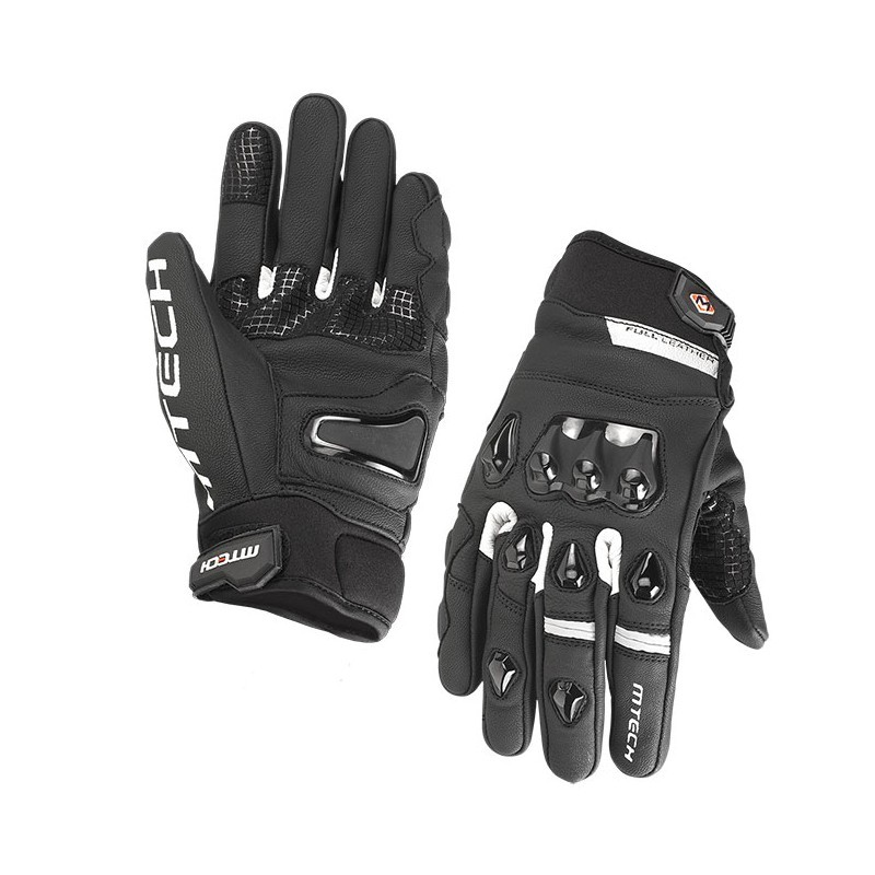 M-TECH HERO FULL LEATHER BLACK WHITE