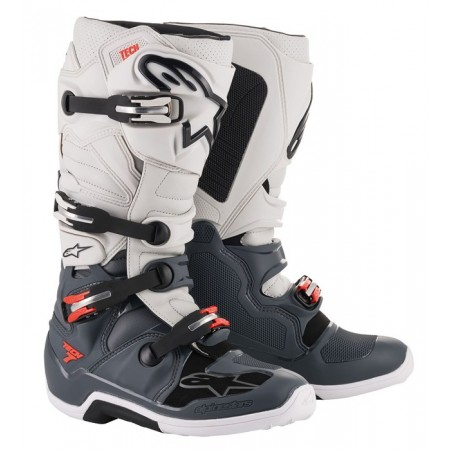 ALPINESTARS TECH 7 DARK GRAY LIGHT GRAY FLUO RED